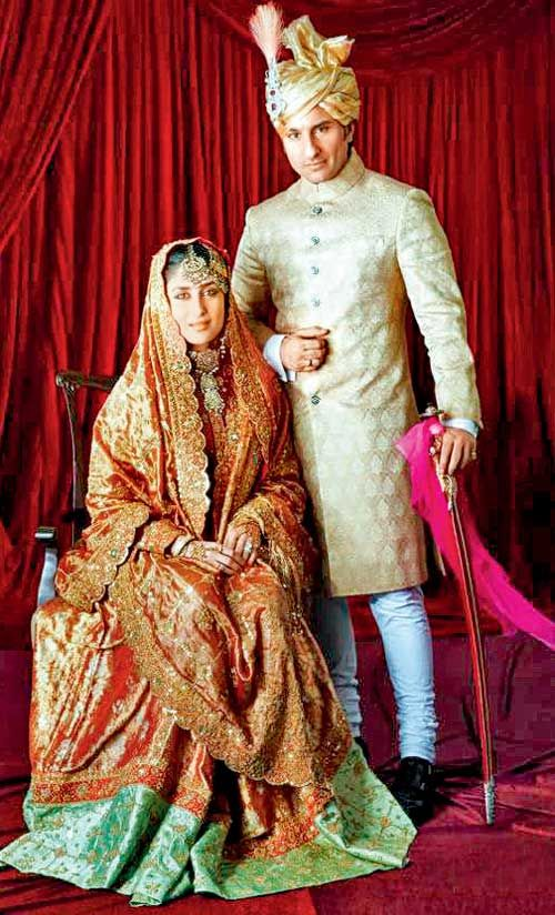 Saif Ali Khan (b. 16 Aug 1970)  is the son of the cricket player and Nawab of Pataudi, Mansoor Ali Khan, and actress Sharmila Tagore. He married Bollywood actress Kareena Kapoor on October 16, 2012. Here she is weaing same dress as her mother in law Sharmila Tagore on her wedding day. On 22 sept 2011 Saif Ali Khan formally assumed the title of 10th Nawab of Pataudi. - <3 Rhea Khan