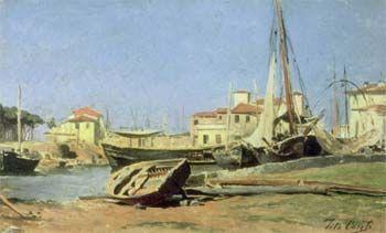Tito Conti La Darsena. Viareggio(1885) olio su cartone, cm 14,5x24