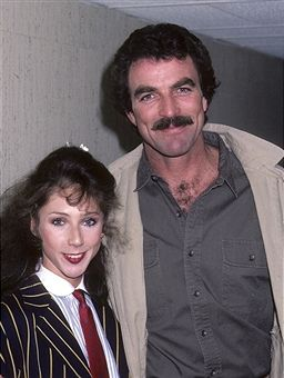 May 23, 1985 Actor Tom Selleck and girlfriend Jillie Mack visit 'Late Night with David Letterman' at Studio 6A, NBC Studios, 30 Rockefeller Plaza in New York City.