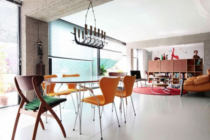 Loft : Spacious Pallars Loft Interior with Minimalist Style in Barcelona, Spain by KAYSERSTUDIO - The View of Dining Room and Living Room Idea in Open Floor Pallars Loft Designed by KAYSERSTUDIO medium version