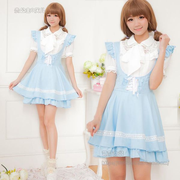 Japanese Lolita lolita maid lace flounced straps soft sister Meng Department of lovely girl dress strap dress