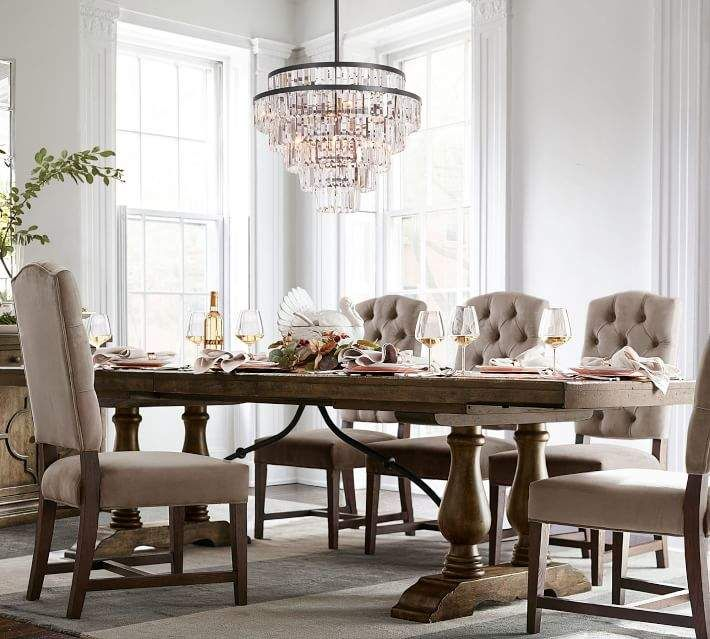 Pottery Barn Lorraine Extending Dining Table Buffet Hewn Oak Luxury Dining Pottery Barn Dining Room Dining Room Furniture