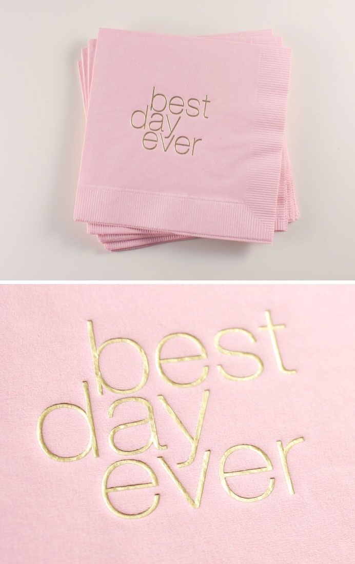 Blush pink and gold 'Best Day Ever' cocktail napkins