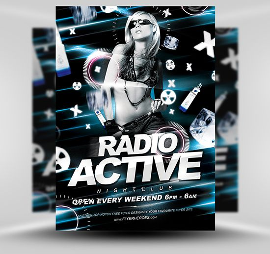 Radio Active Flyer Template #Free #PSD #Photoshop #Flyer #Poster #Template #FlyerHeroes