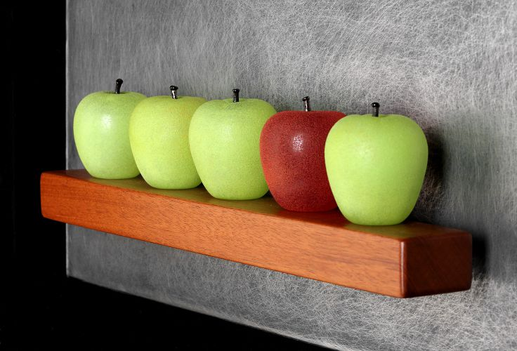 Art Glass, 'Five Apples Still-Life', wall sculpture composed of hand blown glass apples, distressed stainless steel and mahogany.