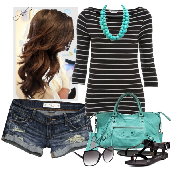 turquoise!: Weekend Outfit, Style, Shirts, Clothing, Color, Necklaces, Stripes, Turquoi Bags, Longer Shorts