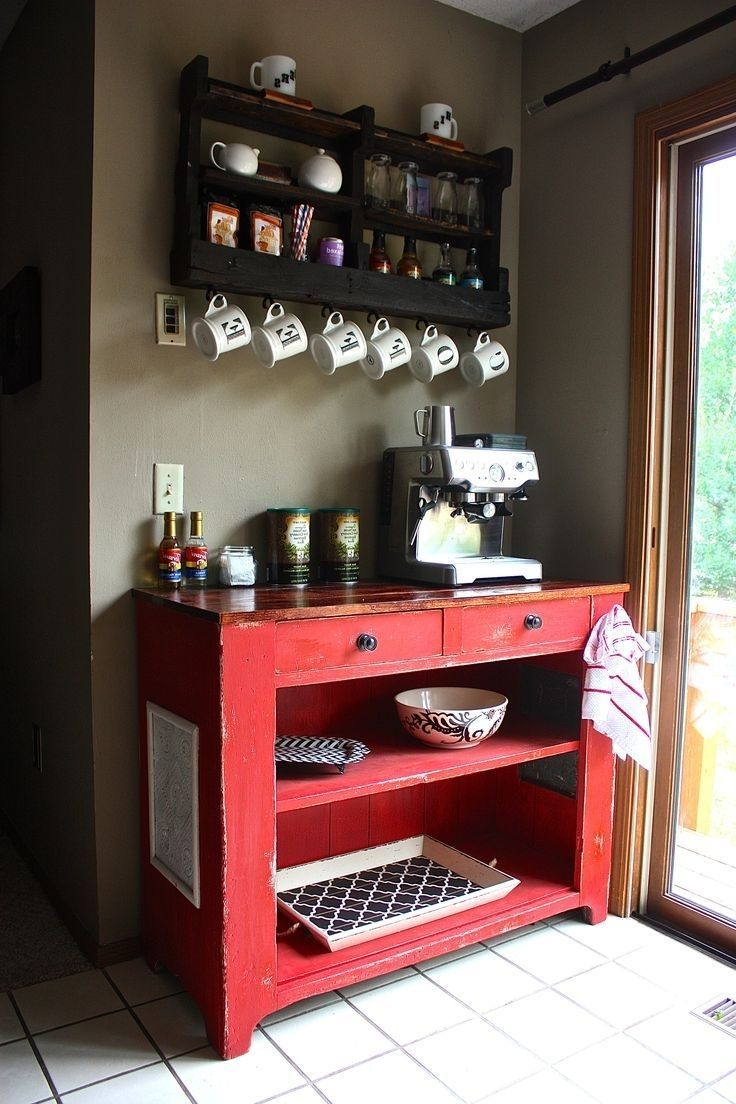 Kitchen Coffee Corner We Love The Idea Of Repurposing An Ikea Lack Library This Create Stylish Coffee Bar In A Small Coffee Bar Home Home Coffee Stations Home