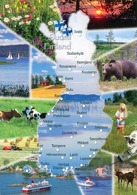 Finland map post card