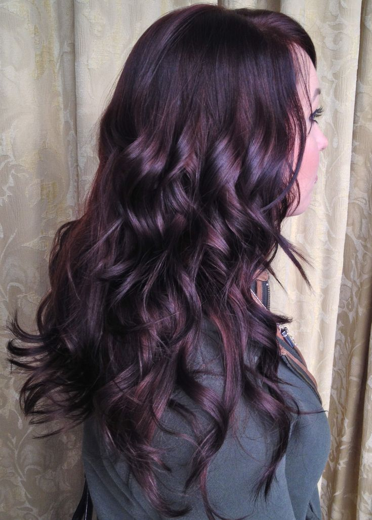 Gorgeous, shiny dark plum hair. Perfect way to add some excitement to brunette locks for fall and winter. View more at facebook.com/designedbyannie