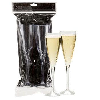 Durable plastic champagne flutes have an elegant lily-like design and are a beautiful complement to any special occasion! A caterers delight, they are great for toasting at weddings, parties, and busi - 2ct - $1
