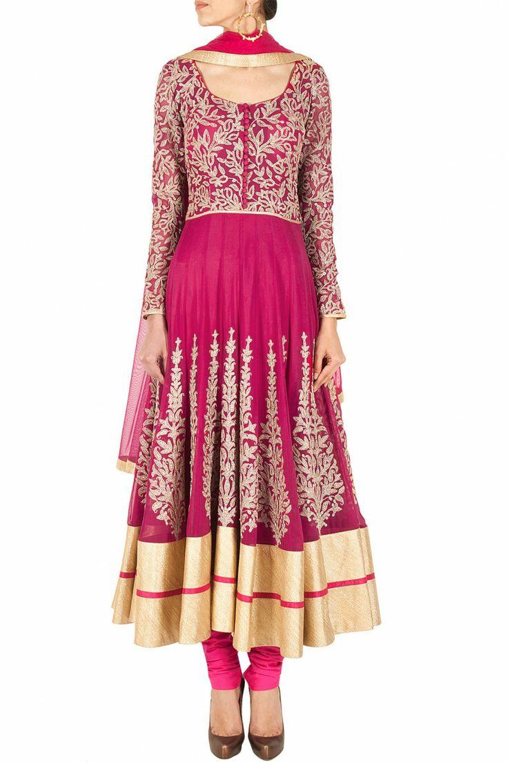 Pink dori embroidered anarkali set BY SVA. Shop now at perniaspopupshop.com #perniaspopupshop #clothes #womensfashion #love #indiandesigner #SVA #happyshopping #sexy #chic #fabulous #PerniasPopUpShop #ethnic #indian