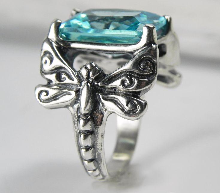 Dragonfly Ring Aquamarine Gemstone Dragonfly Ring