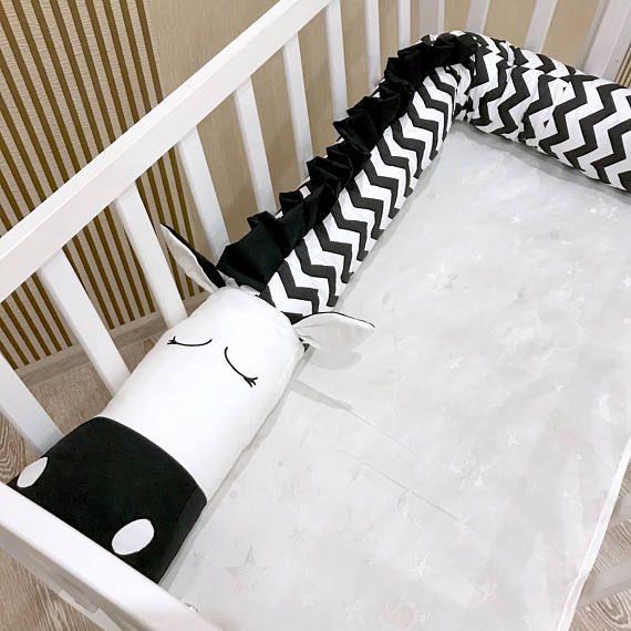Baby crib bumper ZEBRA Pillow Handmade Baby Bed Bumper Baby