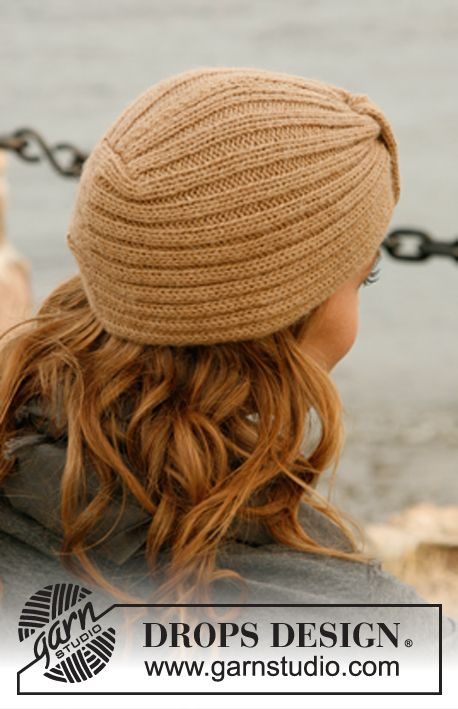 """Knitted DROPS hat with band in """"Alpaca"""". ~ DROPS Design"""