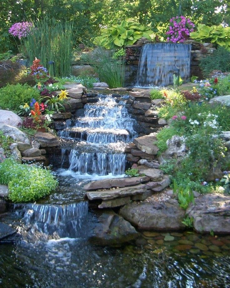 Exterior, Pretty Backyard Waterfall Completing The Ponds And Patio Of  Exterior Look: West Winds