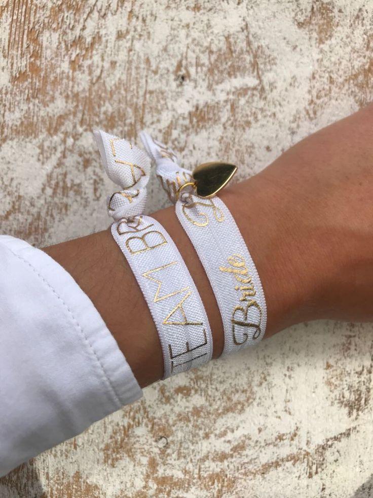 Armband Set Junggesellinnenabschied || Herz Anhänger JGA Hochzeit Bridesmaids Trauzeugin Braut