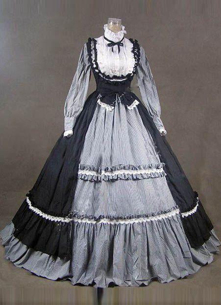 18th Century Fashion Black/Gray Short shipping Ruffles Rococo/Georgian Period Dress