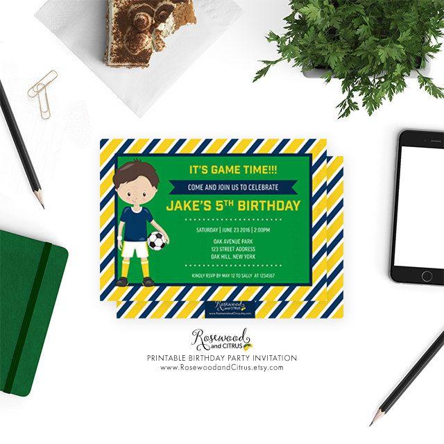 Football Birthday Invitation Printable, Printable Birthday Party Invitation, Soccer Birthday Invite, Sports Birthday Invitations for Boys by RosewoodandCitrus on Etsy