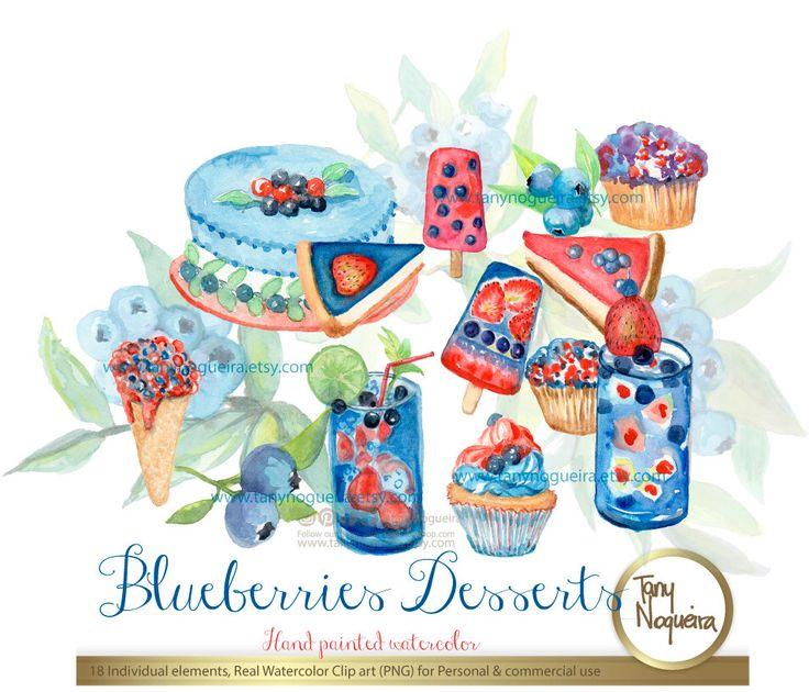 https://www.etsy.com/mx/listing/384389328/postres-bebidas-de-blueberries-bouquets #DessertTable #blueberries #lovemyjob #fruitscake #Blues #BlueCommunity #blueandred #pies #illustration #watercolorclipart