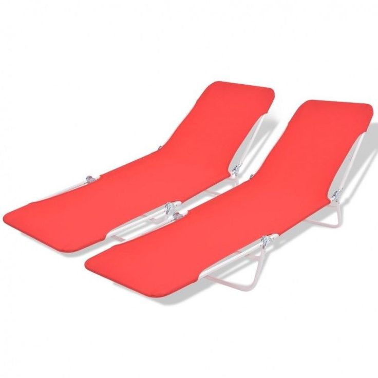 2 Sun Loungers Folding Chair Outdoor Seat Furniture Portable Red Bed Yard Pool