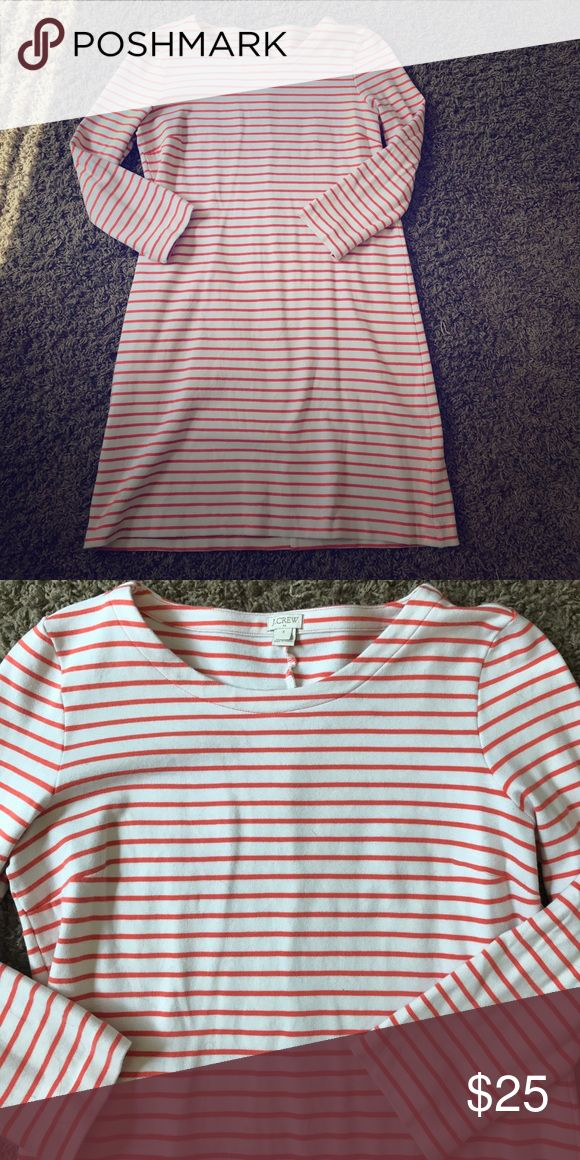 J. Crew orange striped dress Great dress to wear on the weekends or to work! 34 inches long. Perfect condition! Thick material! J. Crew Dresses