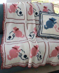 PA113 Country Kittens Afghan Crochet Pattern- This easy crochet skill level pattern is the perfect first afghan pattern for all skill levels. Each kitten block is stitched separately and then crocheted together to complete the afghan. The finished size is about 47 inches wide and 62 inches long so it can cover the top of a twin-sized bed.