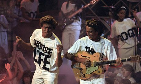 'Get it off your chest:  From its humble counter-culture origins to its current status as a high-street fashion staple, the slogan T-shirt has a noble history', writes Emma Sibbles  The Guardian, Friday 19 June, guardian.co.uk,  2009, Image: Wham George Michael