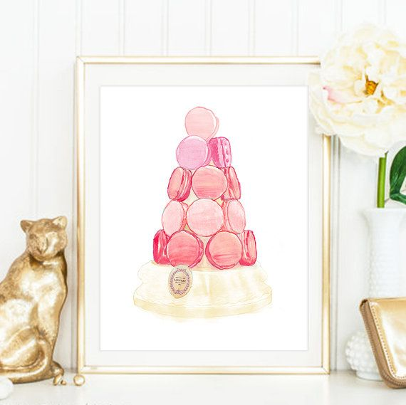 Laduree Print. Macaron Tower Laduree Watercolour Illustrated Art. Luxury  Treats And Desserts. Beautiful High Fashion Wall Art