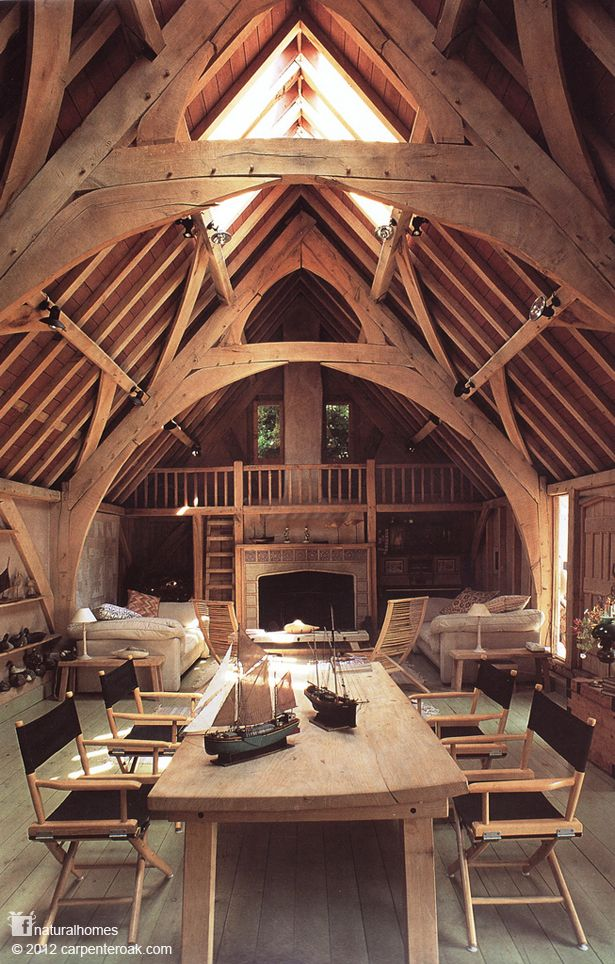 This beautiful home in Devon, England called Seagull House, was traditionally framed in oak. It was converted from a barn in 1987 and designed by architect Roderick James. More homes at www.naturalhomes.org/timeline.htm