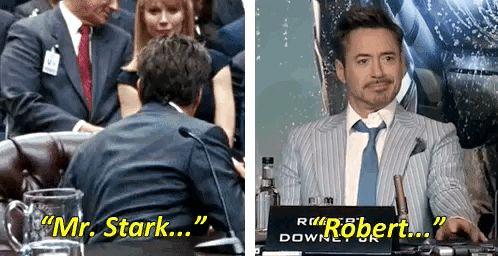 RDJ = Tony Stark