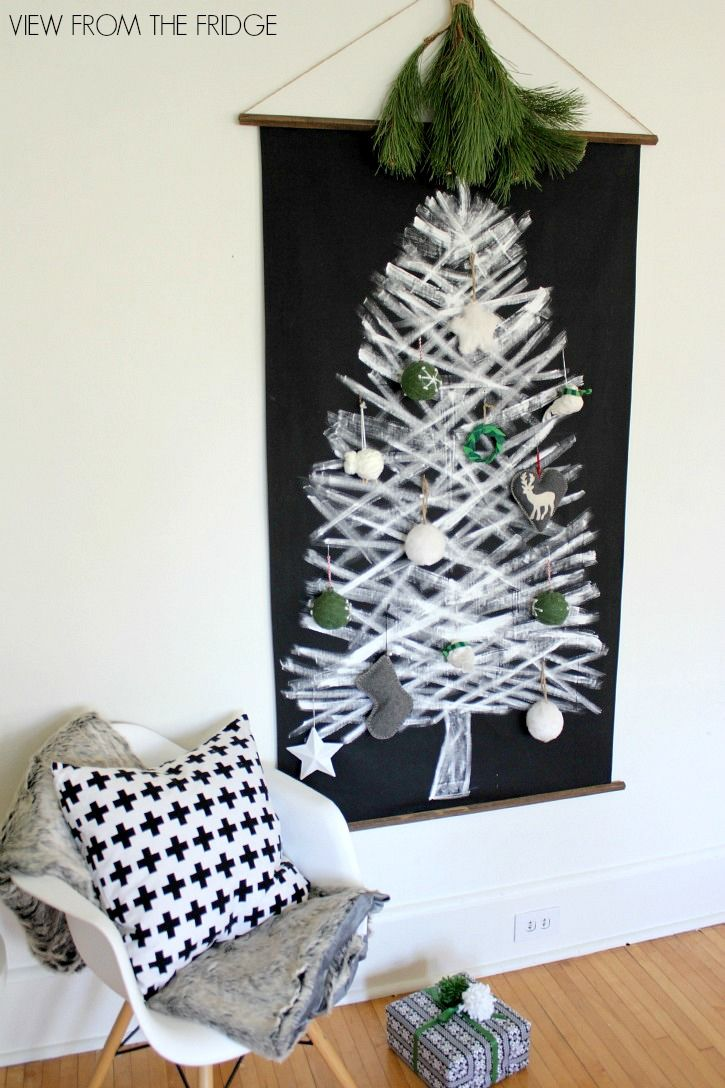 Christmas tree black and white decor - Diy Black And White Christmas Tree Wall Hanging View From The Fridge