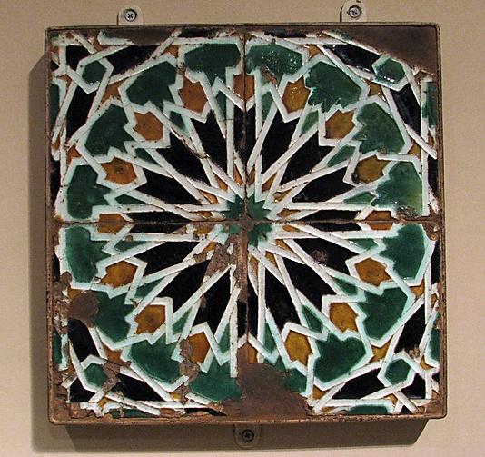 Panel of Tiles, Spain, tin enameled earthenware, 16th century