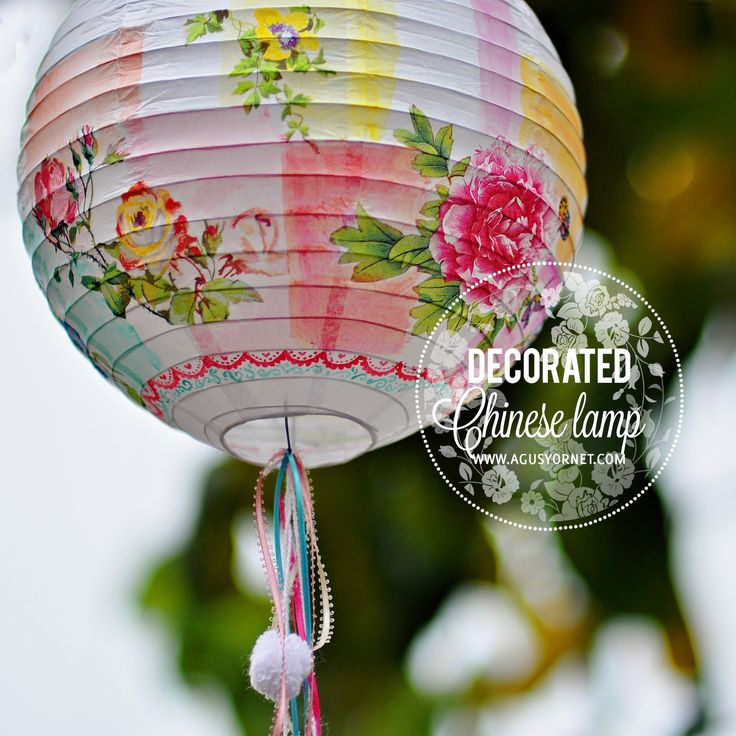 Decorated Chinese Lamp  •  Free tutorial with pictures on how to make lighting in 3 steps