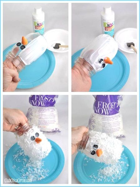 Christmas Snowman Mason Jar Glue the jar all over and use frosty snow (artificial snow) to cover the jar. There's Frosty the Snowman mason jar.