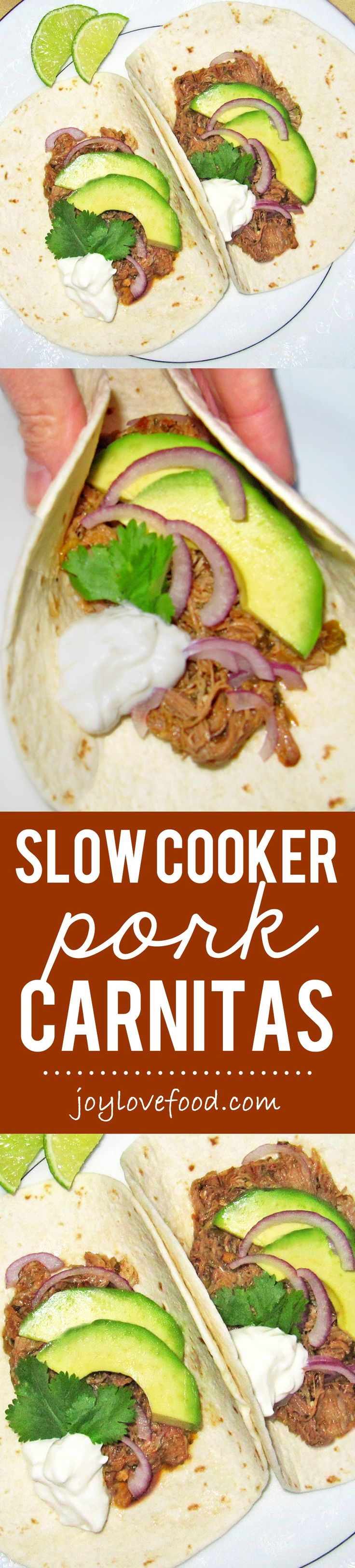 Slow Cooker Pork Carnitas - succulent, tender and flavorful pork with minimal work. Wrap these carnitas up in warm flour tortillas for delicious tacos, perfect for an easy family meal or a casual dinner party.