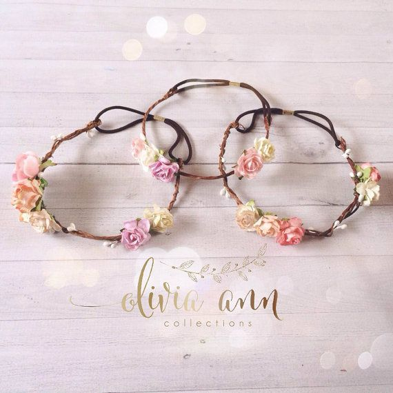 Exclusive dainty boho flower crown halo tie back woodland newborn adult photography prop