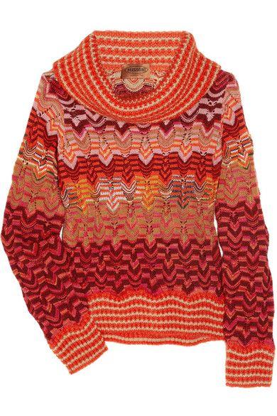 Missoni Betta sweater: multicolored zigzag-patterned wool-blend, draped turtleneck, long sleeves. Slips on. 72% wool, 16% nylon, 12% mohair. Dry clean.