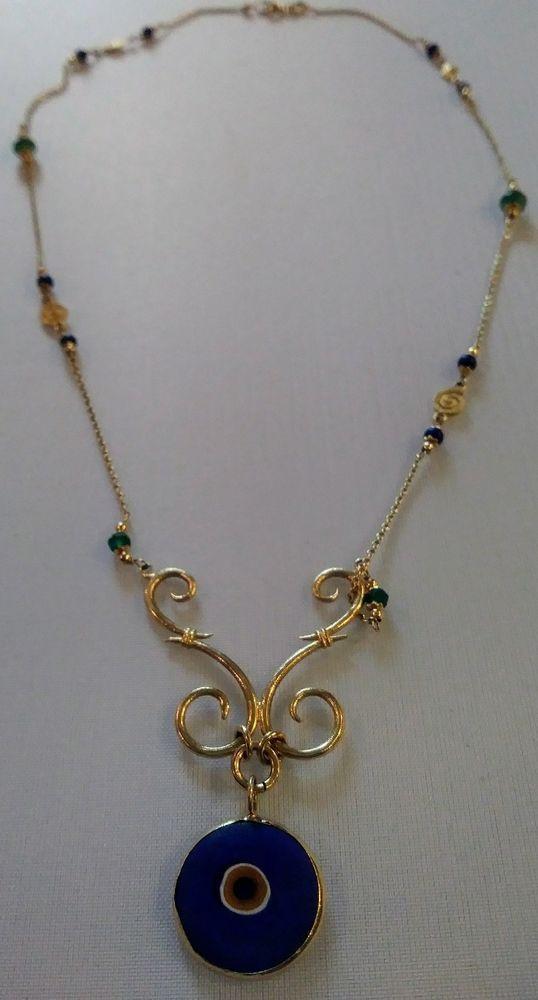 vintage gold evil eye necklace marked 585 jewelry