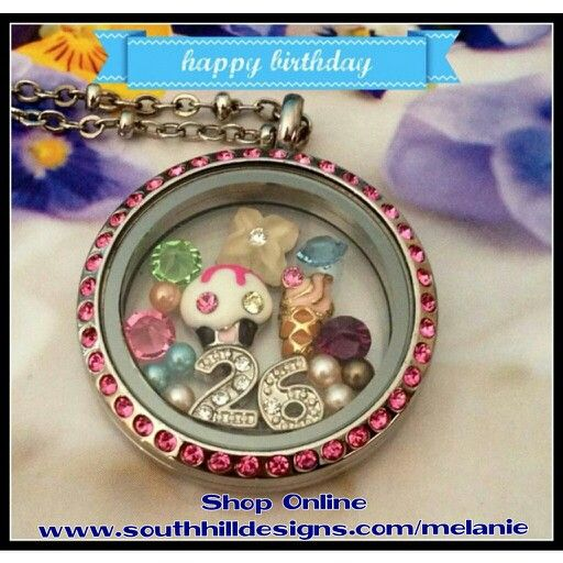 Create a Happy Birthday Locket with South Hill Designs!! This large silver locket with pink Swarovski crystals is one of my absolute favorites!! www.southhilldesigns.com/melanie