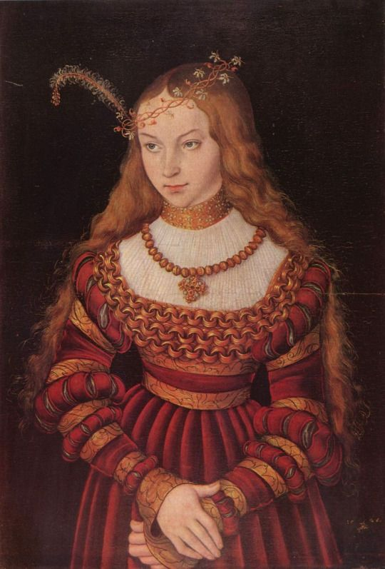 Lucas Cranach the Elder (German, 1472-1553) - Portrait of Princess Sibylle of Cleve as a Bride, 1526