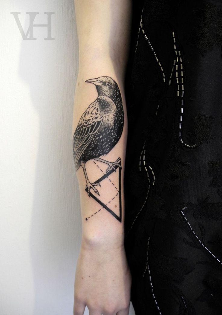 bird and triangle by valentin hirsch #arm #forearm #tattoos