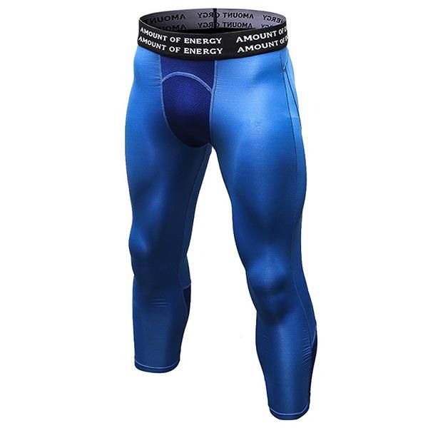 PRO Heren Sport Seven Point Pants Fitness Running Training Ademende snelheid Droge stretchbroek bij Banggood