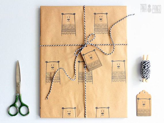 Christmas wrapping paper | Gift wrap set | 1 sheet of paper 70x100cm/27.5x39.5'' | 2 gift tags | 5m/5yd twine | Hand printed | Winter bear