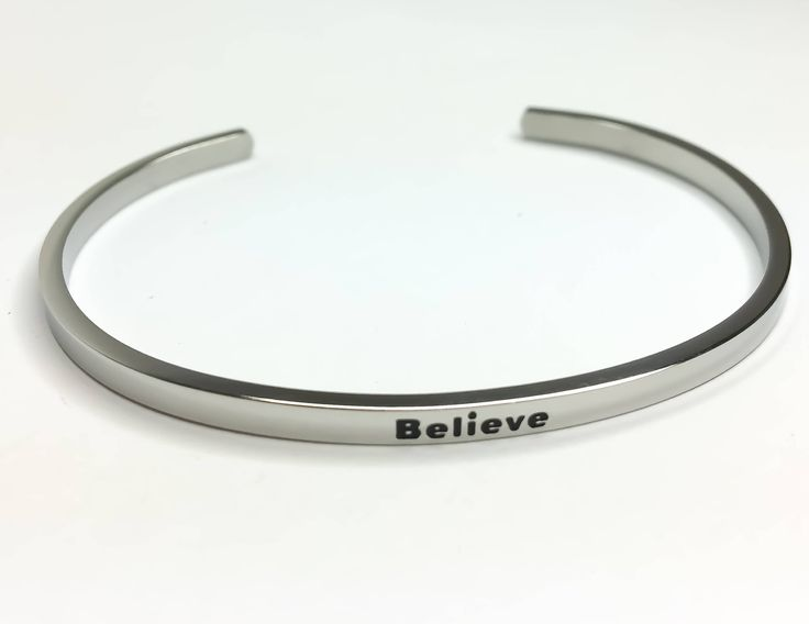 Believe Bracelet, Silver Stainless Steel Bracelet, Fitness Jewelry, Motivational Bracelet, Cuff Bangle, Gifts for Her, Gift Ideas, Inspire, by MissFitBoutiqueCA on Etsy https://www.etsy.com/ca/listing/559137399/believe-bracelet-silver-stainless-steel