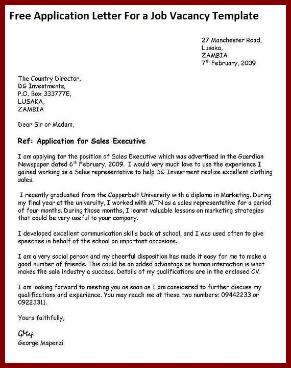 Free Sample Application Letter For a Job Vacancy Template ...