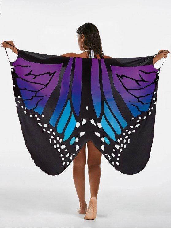 Butterfly Print Beach Wrap Cover Up Dress - BLUE + PURPLE 2XL