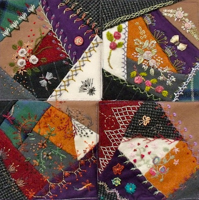 I ❤ crazy quilting . . . The first four finished wool blocks for Ritva