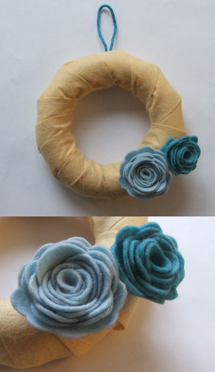 spring door wreath with felt flowers
