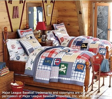 Boys baseball room - i like the pennant with the initial in the middle...