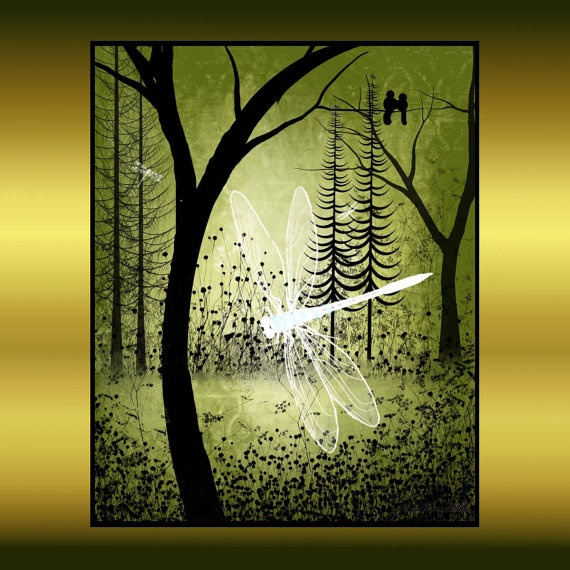 Enchanted Tree and Dragonfly Art print on Etsy.
